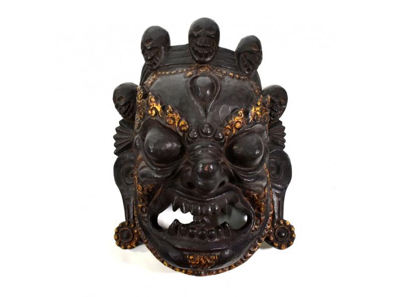Bhairab, dřevěná maska, antik patina, ruční práce, 35cm