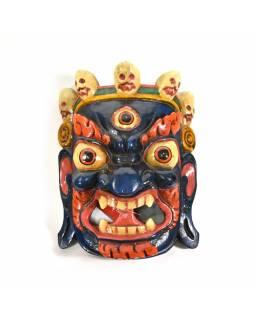Bhairab, dřevěná maska, modrá, ruční práce, 27cm