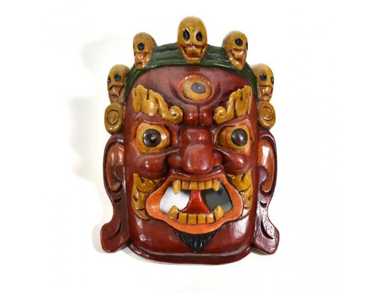 Bhairab, dřevěná maska, rudá, ruční práce, 26cm