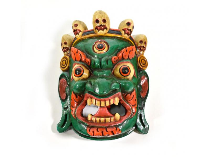 Bhairab, dřevěná maska, zelená, ruční práce, 27cm