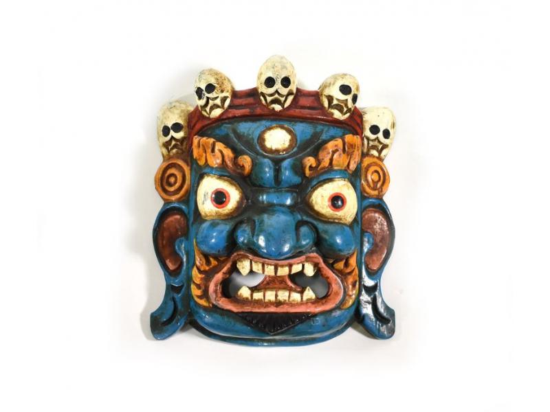 Bhairab, dřevěná maska, modrá, ruční práce, 22cm