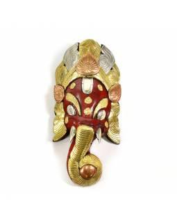 Ganeš, dřevěná maska, ručně malovaná, mosazné kování, 32cm