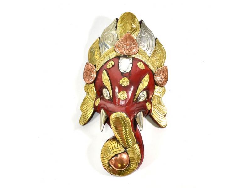 Ganeš, dřevěná maska, ručně malovaná, mosazné kování, 28cm