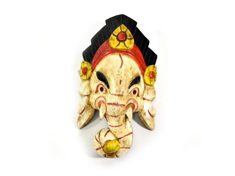Ganeš, dřevěná maska, ručně malovaná, 27cm