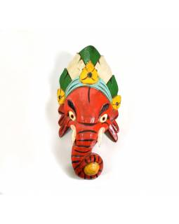 Ganeš, dřevěná maska, ručně malovaná, 29cm
