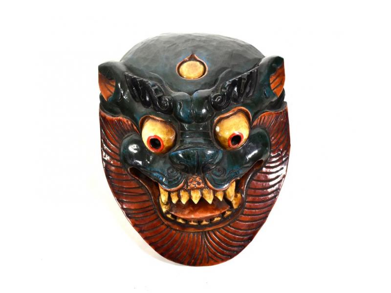 Dřevěná maska, sněžný lev, ručně malovaná, 27cm