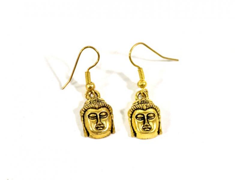 Visací náušnice Buddhova hlava, zlaté