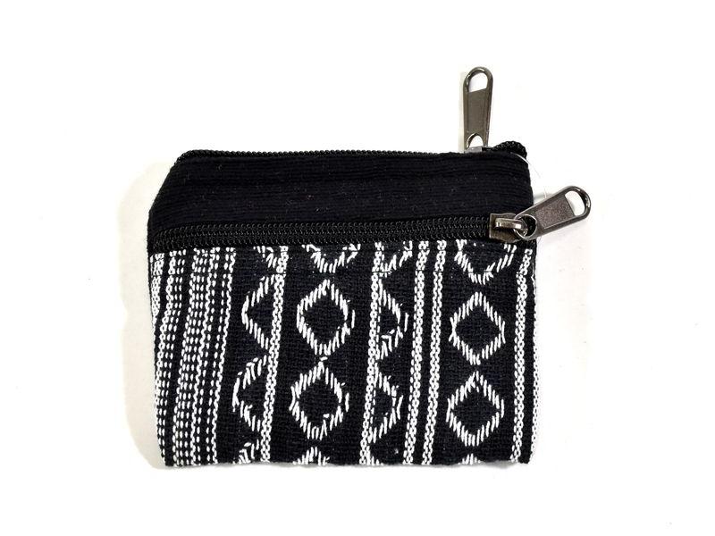 Malá bavlněná peněženka na drobné, černá, zip, 11x9cm