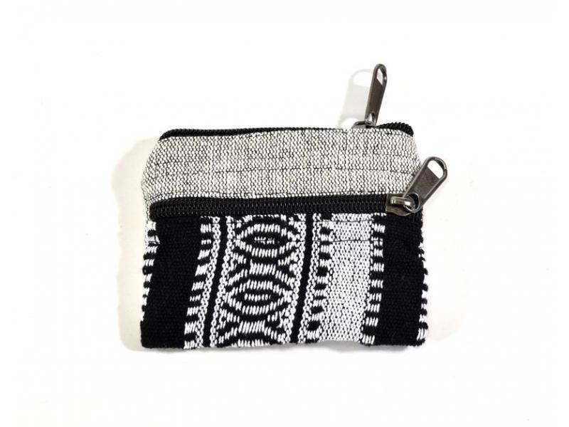 Malá bavlněná peněženka na drobné, přírodní bílá, zip, 11x9cm