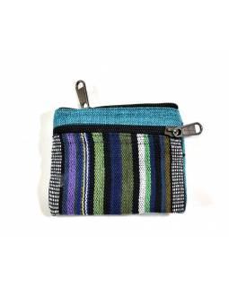 Malá bavlněná peněženka na drobné, tyrkysová, zip, 11x9cm