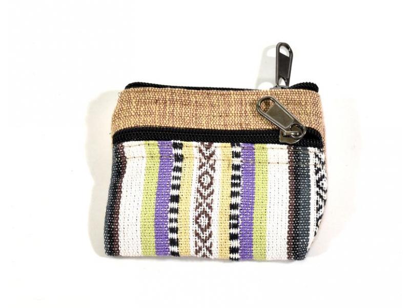 Malá bavlněná peněženka na drobné, přírodní hnědá, zip, 11x9cm