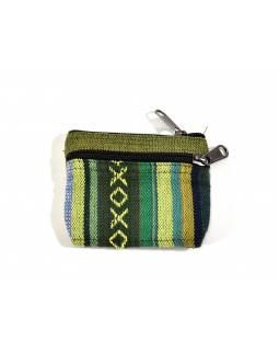 Malá bavlněná peněženka na drobné, zelená, zip, 11x9cm