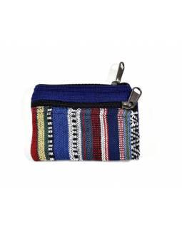 Malá bavlněná peněženka na drobné, tmavě modrá, zip, 11x9cm