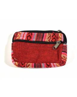Bavlněný neceser/penál, červená, zip, 11x15cm