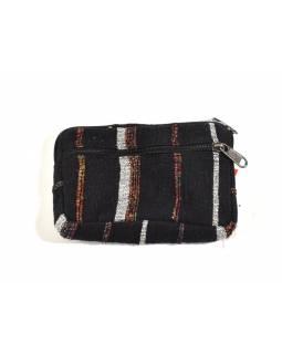 Bavlněný neceser/penál, černá, zip, 11x15cm