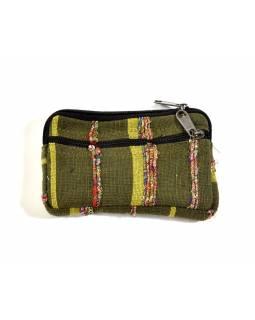 Bavlněný neceser/penál, zelená, zip, 11x15cm