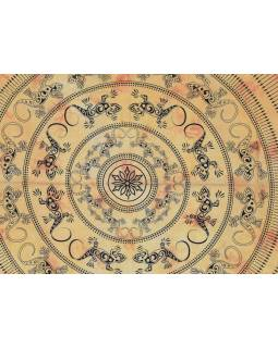 Přehoz přes postel, Mandala ještěrky, žlutá batika, 205x230cm