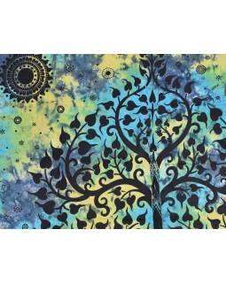 Přehoz na postel, Slon a strom života, žluto-zeleno modrý , 200x230cm