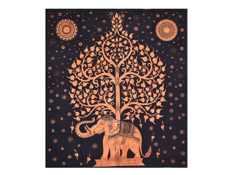 Přehoz na postel, Slon a strom života, oranžový, 200x230cm
