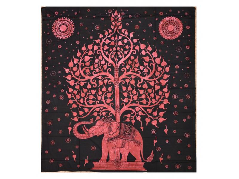 Přehoz na postel, Slon a strom života, červený, 200x230cm