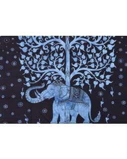 Přehoz na postel, Slon a strom života, modrý, 200x230cm