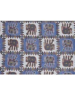 Přehoz na postel, modrý, Sloni - tištěný patchwork, 210x230cm