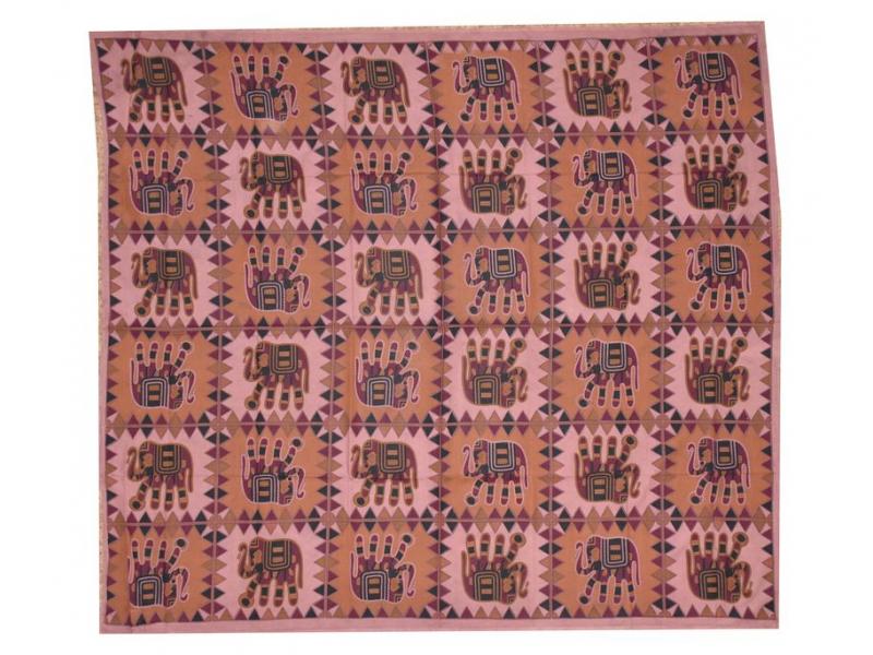 Přehoz na postel, cihlový, Sloni - tištěný patchwork, 210x230cm