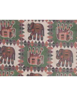 Přehoz na postel, šedý, Sloni - tištěný patchwork, 210x230cm