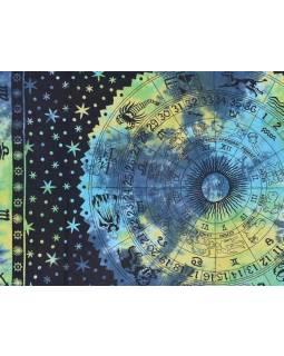Přehoz na postel, Zvěrokruh, zeleno-žluto modrý, 205x225cm