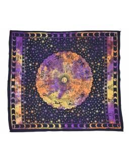 Přehoz na postel, Zvěrokruh, žluto-ornžovo fialový, 205x225cm