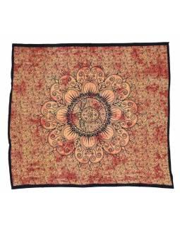 Přehoz s karetou, oranžová batika, 200x220cm