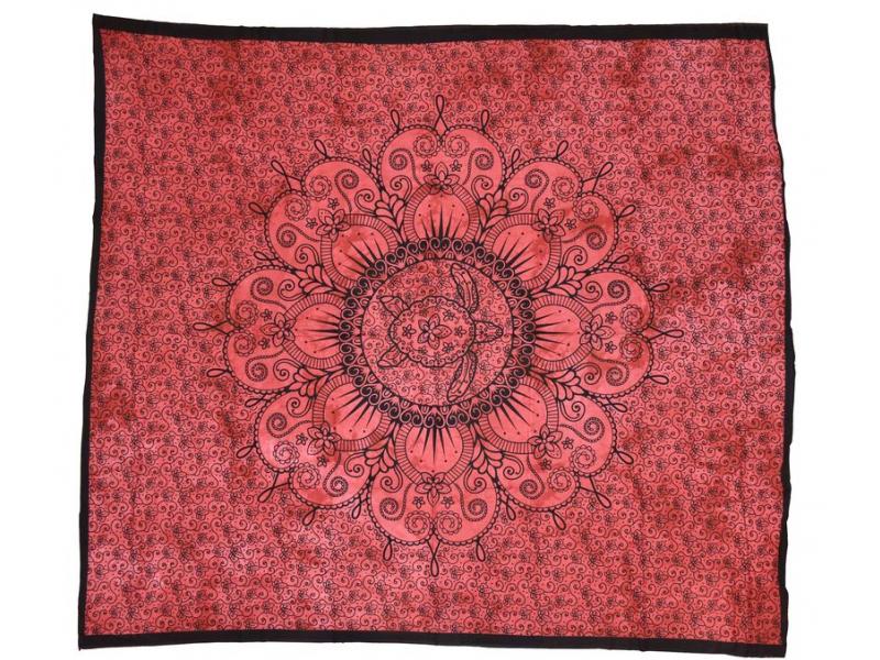 Přehoz s karetou, červená batika, 200x220cm