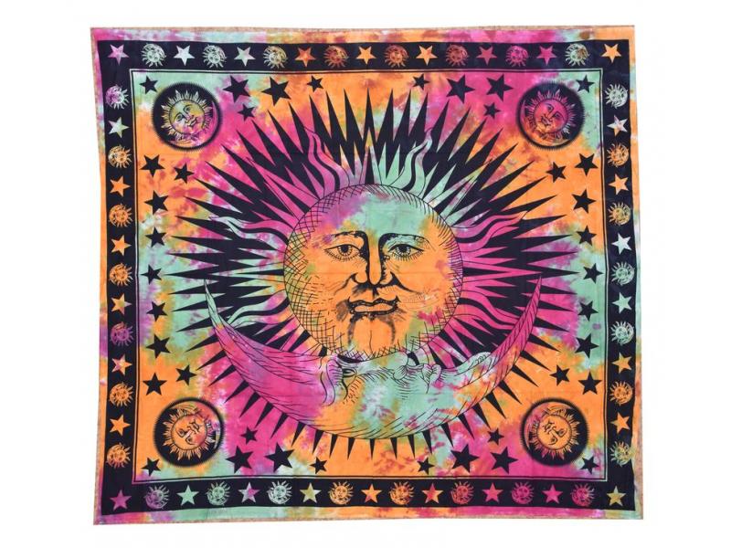 Duhový přehoz na postel se sluncem, černý potisk, třásně, 200x230cm