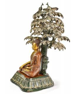 Buddha meditující pod stromem, mosaz, 78cm