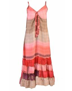 Dlouhé šaty s volány, z recyklovaných sárí