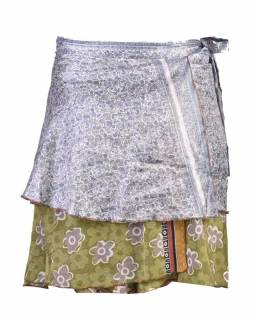 Krátká zavinovací sukně z recyklovaných sárí