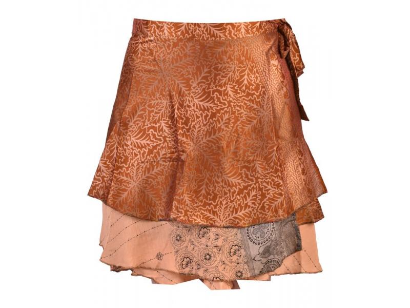 d0dfe3344e9 Krátká zavinovací sukně z recyklovaných sárí