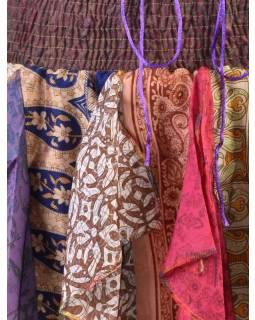 Multibarevná mini sukně ze sárí s volány (top), bobbin, mix barev a designů