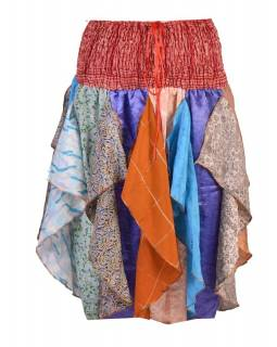 Multibarevná tříčtvrteční sukně s cípy (šaty), sárí, bobbin, mix barev a desi