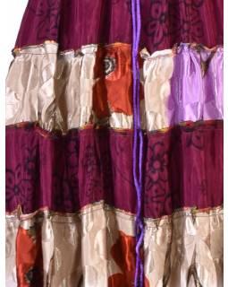 Dlouhá patchworkové šaty/sukně, recykl.sárí, bobbin
