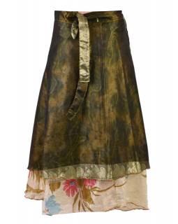 Dlouhá zavinovací sukně z recyklovaných sárí