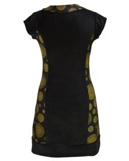 Krátké černé sametové šaty s krátkým rukávem a Chakra tiskem