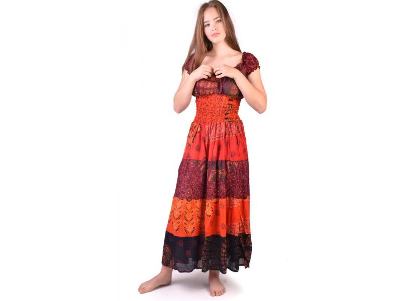 Dlouhé červené šaty s potiskem, balonový rukávek, patchwork design