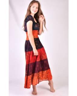 Dlouhé šaty s potiskem, balonový rukávek, patchwork design, mix