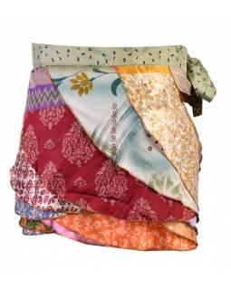 Krátká zavinovací volánová sukně z recyklovaných sárí, volánymix barev a designů