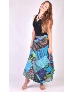 Dlouhá modrá zavinovací sukně, patchworkový design
