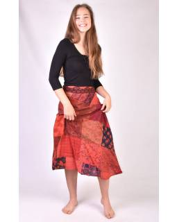 Dlouhá vínová zavinovací sukně, patchworkový design