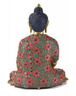 Buddha Šakjamuni, vykládaný polodrahokamy,  34cm