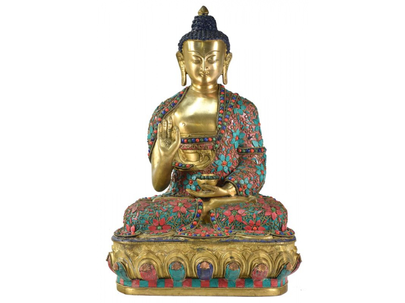 Buddha Amoghasiddhi, vykládaný polodrahokamy,  42cm