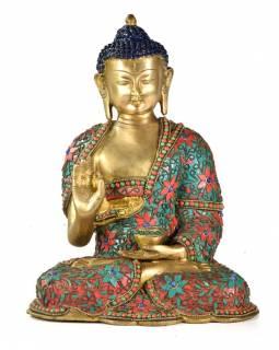Buddha Amoghasiddhi, vykládaný polodrahokamy,  29cm